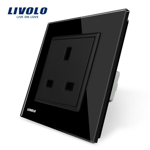 Livolo розетка стандарта ЕС Великобритании, белая/черная кристальная стеклянная панель, AC 110~ 250 В, 13A розетка, VL-C7C1UK-11/12,80 мм* 80 мм, без логотипа - Тип: Black