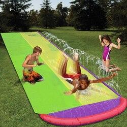 4,8 m gigante Surf y tobogán de agua doble tobogán de césped toboganes de agua para niños Piscina de verano juegos divertidos juguetes patio trasero al aire libre ola Rider