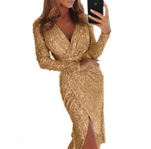 New Ladies Sexy Long Outerwear V-Neck Solid Color Pencil Dress Female High Waist Fashion Dinner Dress Long Sleeve Clothing