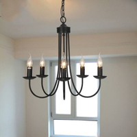 European iron candle chandelier E14 5 heads For living room bedroom dining room hanging lamps retro garden bar Home Chandelier