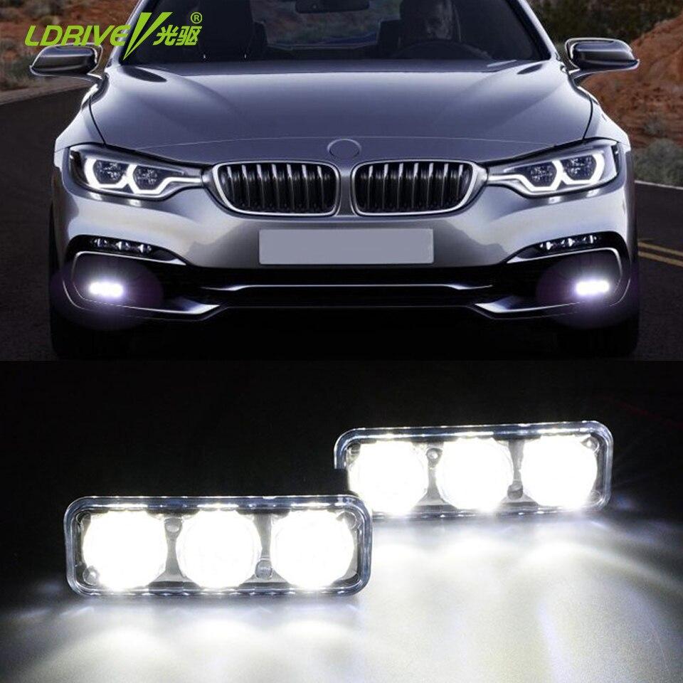 LDRIVE 2Pcs/Set LED DRL with Turn Signal Car Light LED Work Lamps Waterproof DC12V DRL Daytime Running Lights Fog Lamp LED Light