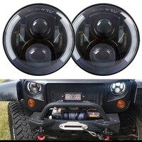 2pcs 7inch Round 80W LED Headlight Hi Lo Beam DRL For Jeep Wrangler Harley DRL CJ
