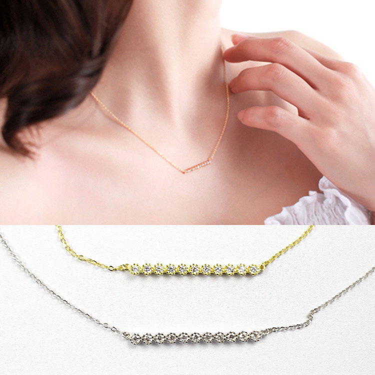 925 sterling silver cubic zirconia necklaces & pendants friendship collier femme, rhinestone necklace women accessaries jewelry