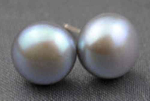 Natural 12-13mm Grey Akoya Cultured gray Pearl Earring Silver Stud