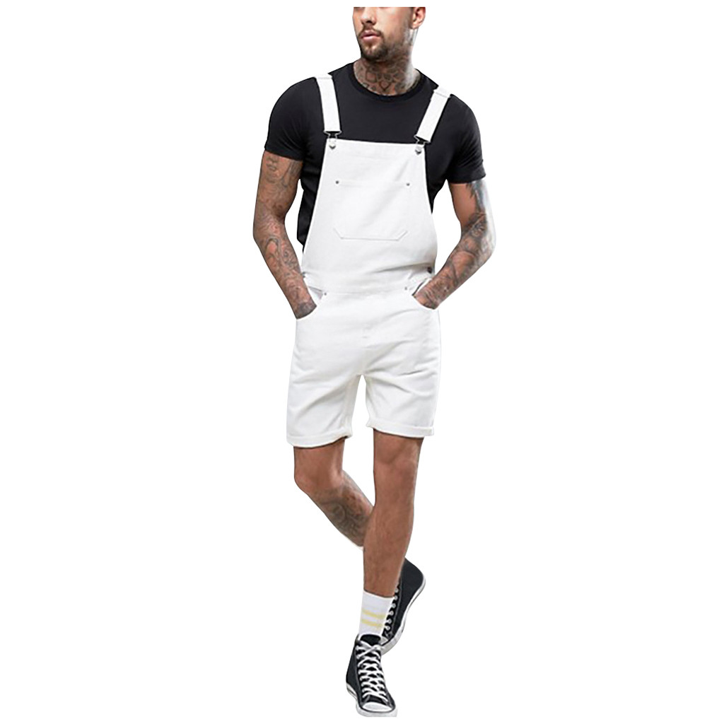 2019 New Men Plus Pocket White  Jeans Overall Jumpsuit Streetwear Overall Suspender Pants S-3XL Skinny Jeans Men Jeans Hombre