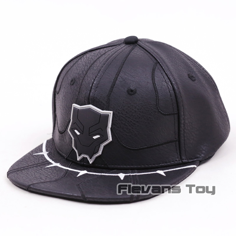 2018 Movie Black Panther Cosplay Hats Adult Black Leather Adjustable  Snapback Baseball Caps Accessories Gift aa45c73590f8