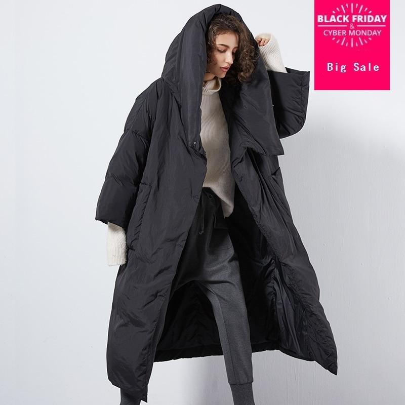 XS-7XL Plus La taille Hiver de bonne qualité sur le genou Plus duvet de canard manteau femme unique poitrine capuche chaud vers le bas manteaux wq124