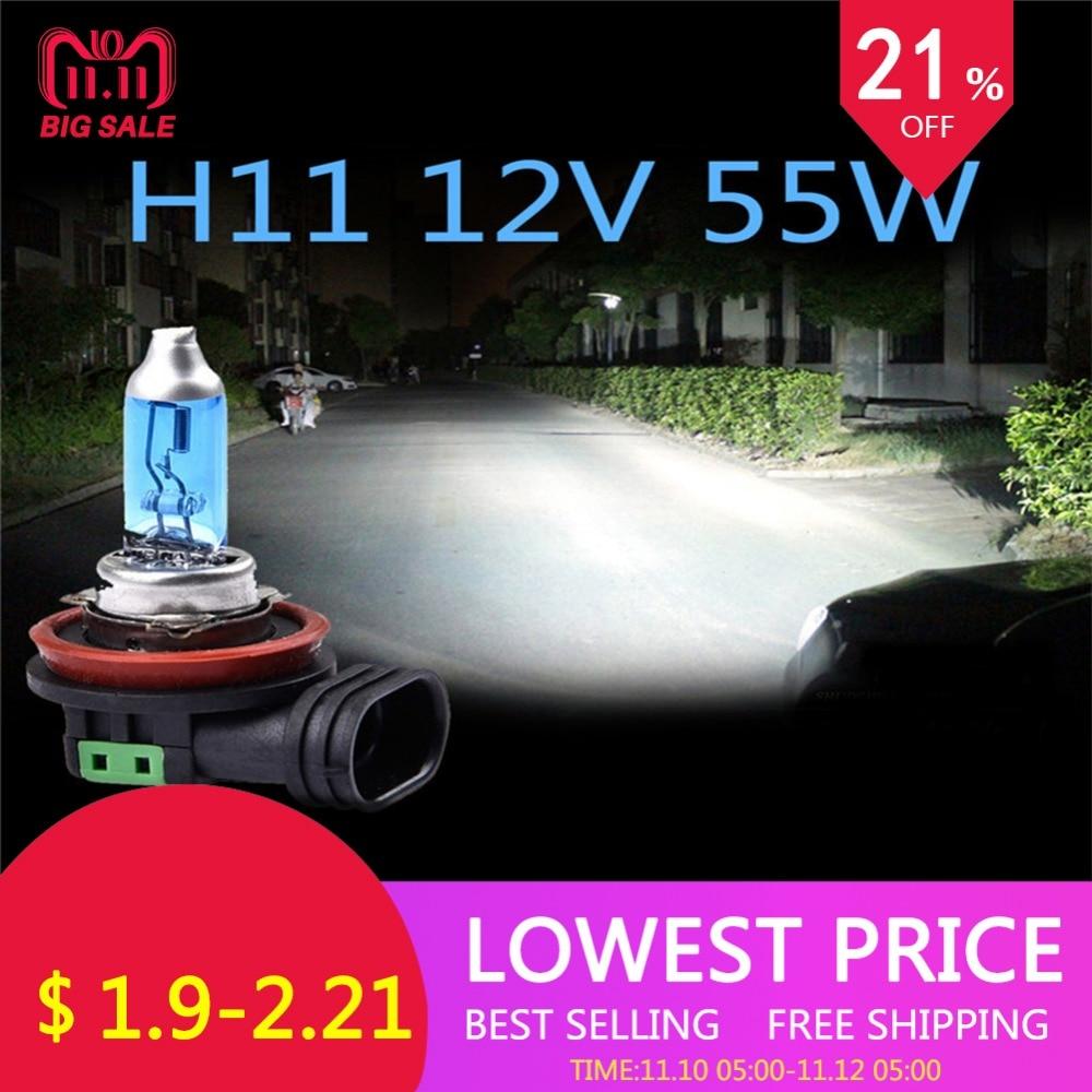 2Pcs H11 100W Super White Bulb H11 100W/55W Fog Light High Power Car Headlights Lamp Light Source Parking Auto 6000K 12V 2pcs h7 55w halogen bulb super xenon 12v white fog lights high power car auto headlight lamp car light source parking 5000k