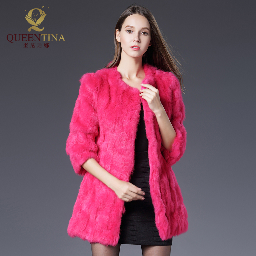 Heiße Frauen Echte Kaninchen Pelzmantel Jacken Echte Pelzmantel - Damenbekleidung - Foto 5