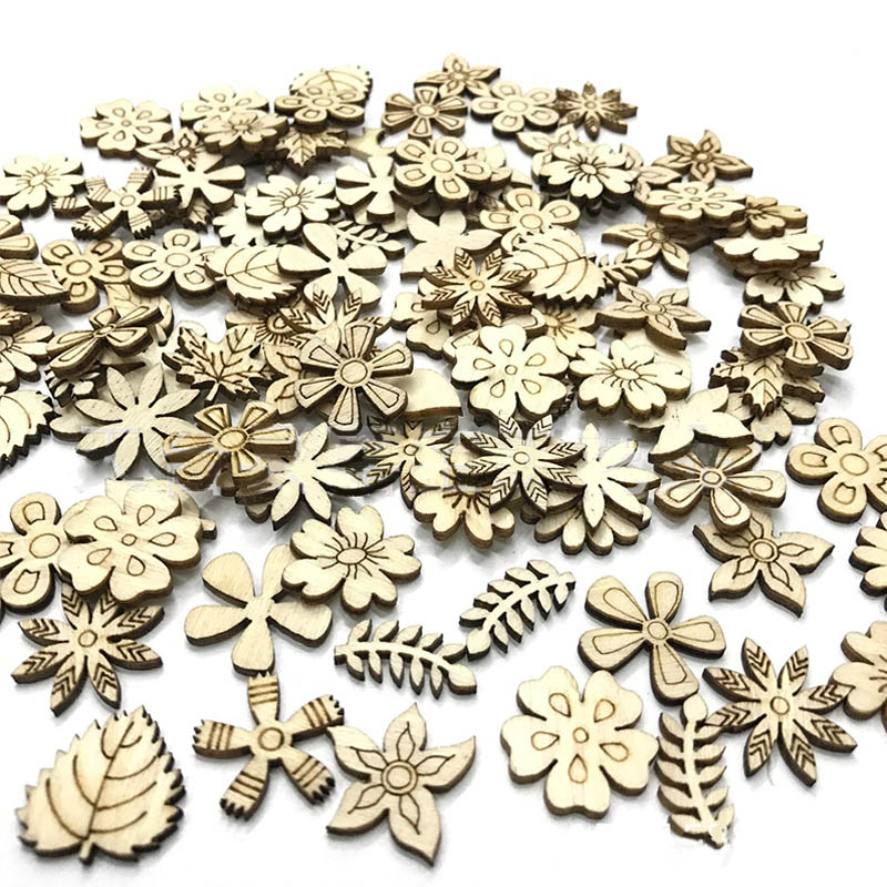 100Pcs 20mm Mixed Scrawl Crafting Wedding Party Decor Wood Flowers Leaves Children Educational Toys Multifunction Laser Cut