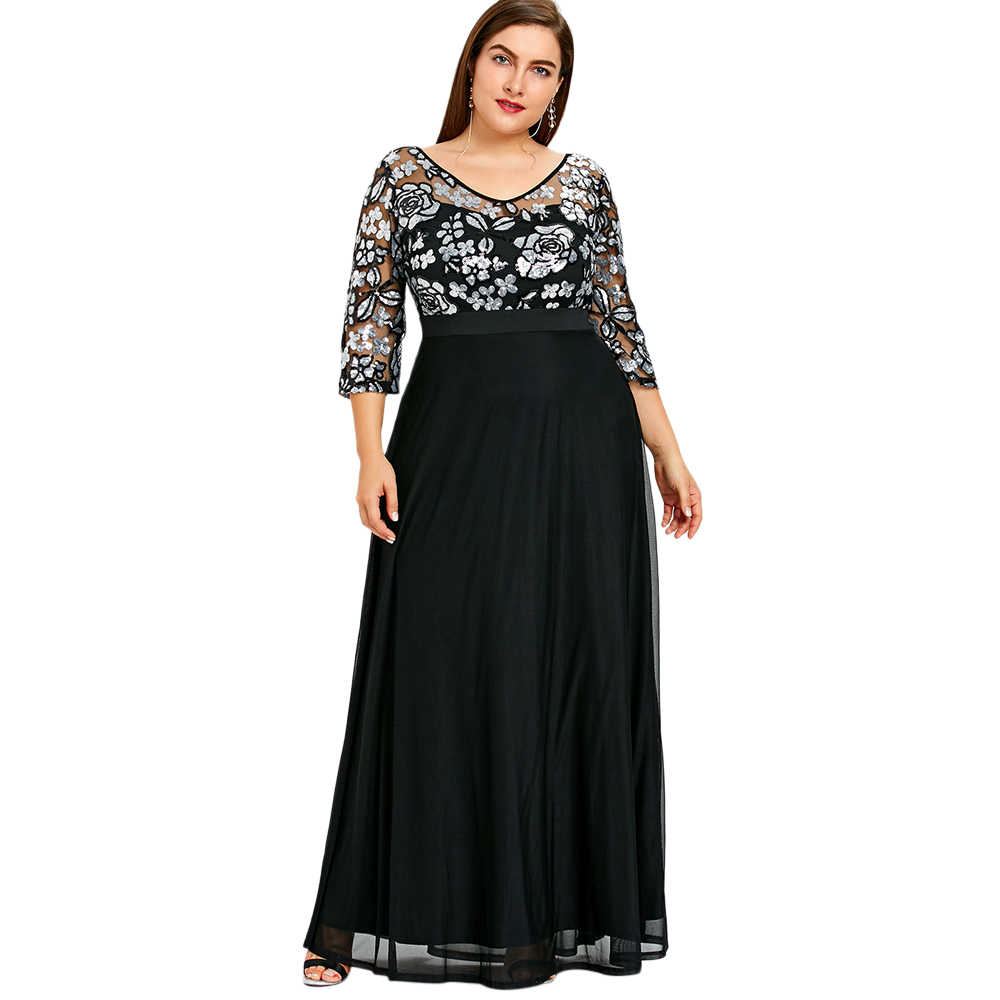 Wipalo Plus Size Sequined Floral Maxi Prom Women Party Long Dress 3/4 Length Sleeves Floral High Waist Woman Formal Dresses 5XL