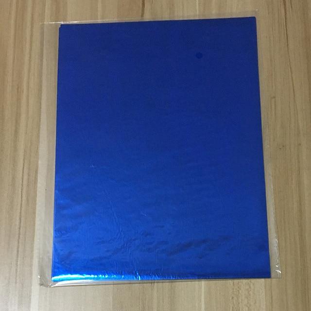 50 шт. золотой черный красный горячего тиснения фольги бумажный ламинатор для ламинирования переноса на элегантность лазерный принтер бумага для рукоделия 20x29 см A4 - Цвет: Blue
