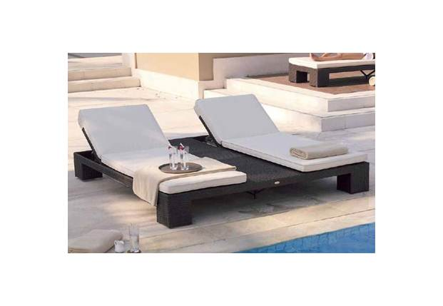 new arrival luxury rattan french european style double wide chaise lounge