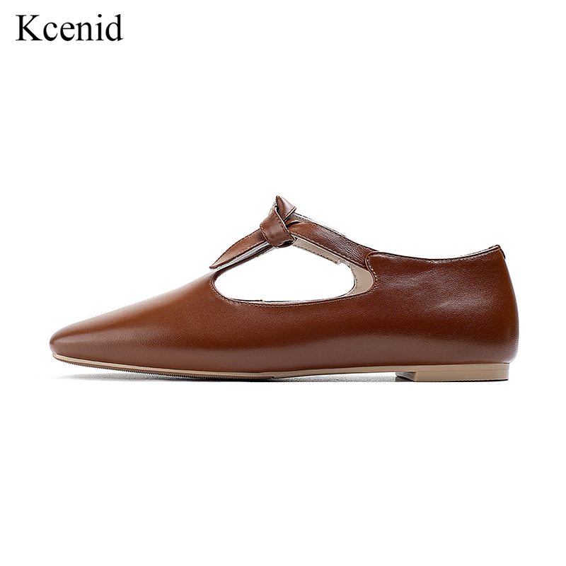 Kcenid Genuine leather women flat shoes bowknot square toe Mary Janes fashion comfortable ladies spring shoes woman plus size 42-in Women's Flats from Shoes    1