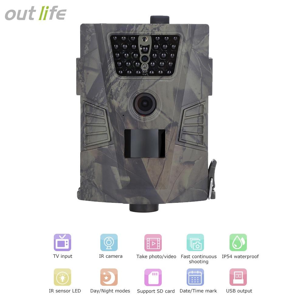 Outlife 720 P охотничья камера ловушка цифровая Trail камера HD PIR датчик 90 градусов 32 ГБ IR светодиоды Дикая камера наружное Trail устройство