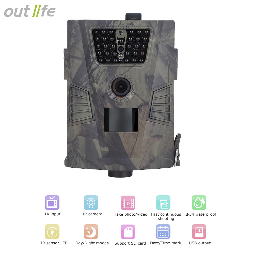 Outlife 720P Hunting Camera Trap Digital Trail Camera HD PIR sensor 90 Degree 32GB IR LEDs Wild Camera Outdoor Trail Device ...