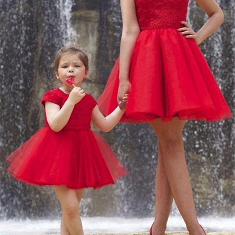 New fashion Flower Girl Dresses With Red Fluffy sleeveless Party Dress For Little Girl Pretty Elegant Formal get together Gown