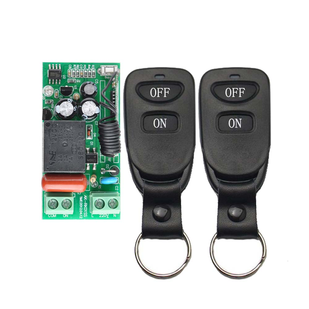 Wireless Remote Control Light Switch 10A Relay Output Radio 220V 1 Channel Receiver Module + 50-500M ON OFF Symbol Transmitter 2pcs receiver transmitters with 2 dual button remote control wireless remote control switch led light lamp remote on off system