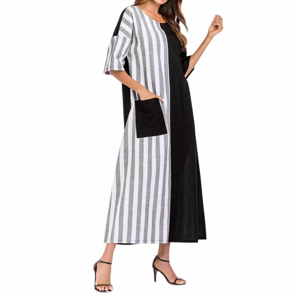 a5f7e80c2e93 Women's Casual Kaftan Long Dress Summer Striped Crew Neck Loose Long Maxi Dresses  Women Clothing Patchwork