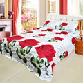 Hot 4pcs 3D Printed Bedding Set Bedclothes Red Rose in Full Bloom Queen/King Size Duvet Cover+Bed Sheet+2 Pillowcases