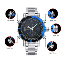 лучшая цена WEIDE men watch quartz contracted watch stainless steel date sport in digital watches led round Big dial luxury  fashion casual