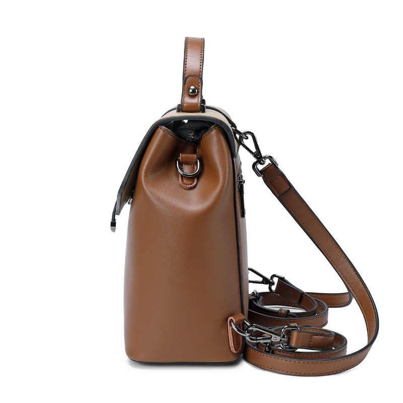 Mschastiye Genuína de Retalhos de couro Mochila Marrom/preto/Café/Cáqui mochila Moda decoração Suave tipo de volta mochila