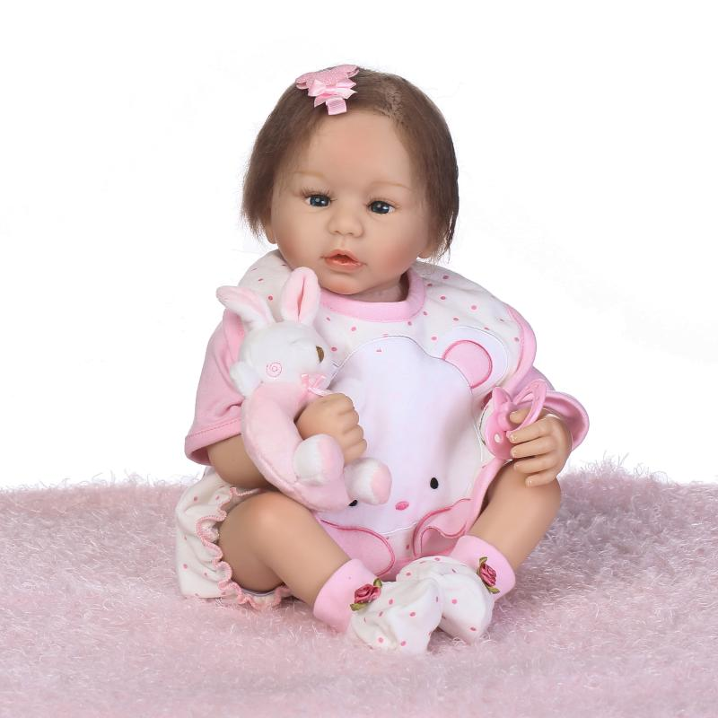 53cm Silicone Baby Reborn Dolls Lifelike Doll Reborn Babies Toys for Girl Pink Reborn Baby Doll Kids Gift Newborn Brinquedos 50cm soft body silicone reborn baby doll toy lifelike baby reborn sleeping newborn boy doll kids birthday gift girl brinquedos