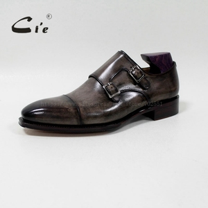 Image 2 - cie Square Captoe Double Monk Straps Patina Oliver Grey Handmade Mens Calf Leather Breathable Goodyear Welted Shoe Men MS 01 09