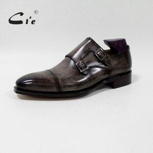 Image 2 - Квадратные двойные ремешки cie с закрытым носком, патина, Оливер серый, Мужская дышащая обувь ручной работы из телячьей кожи Goodyear, мужская обувь