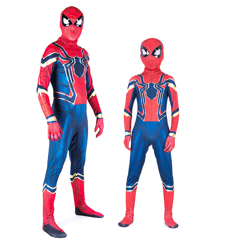 Red Blue Spider Man Zentai Costume Spider Man Suit Halloween Party  Costumes Adults Children Kids Spider-Man Cosplay Clothing