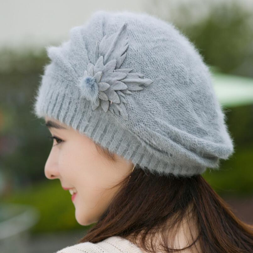 2e39cc661c5 2018 winter rabbit fur Ski Cap hat female Beanie with one pieces flowers  winter wool Cap for ladies Hot sale clothing set