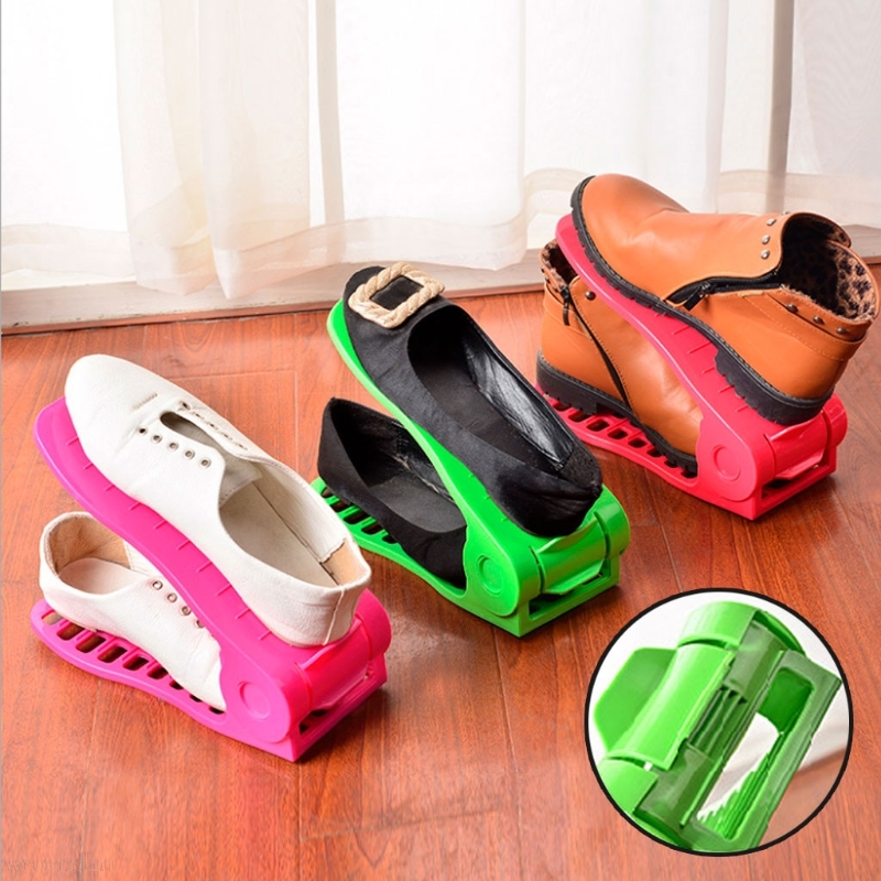 Home Shoes Base Space Saver Adjustable Double Layer Shoes Rack Storage Shelf Convenient Shoebox Shoes Organizer Random Color