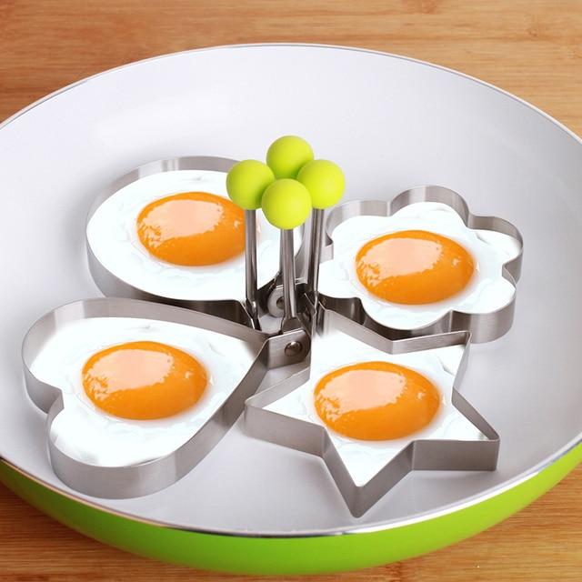 4X Gadget Da Cucina Stampi Per Uova Utensili In Acciaio Inox Pancake ...