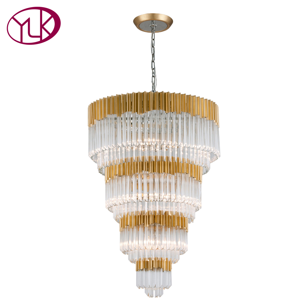 Youlaike Luxury Modern Crystal Chandelier For Stair Luxury Lobby Foyer Hanging LED Lamps Gold Indoor Hallway Lighting Fixtures цена