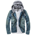2016 Hot Sale Foreign Male Fashion Denim Jacket Detachable Hooded Men Denim Jacket Denim Jacket Jeans Size M-5XL