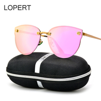 LOPERT Fashion Polarized Cat Eye Sunglasses Women Brand Designer HD Glasses Carved Roses High Guality Sun