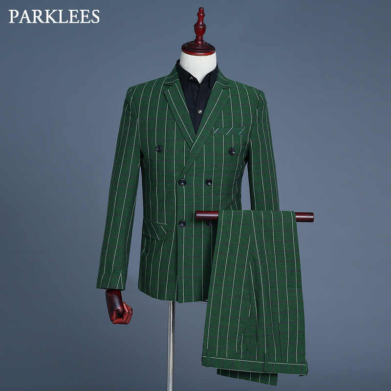 Latest Green Plaid Dress Suit Men Double Breasted Mens 3 Piece Set Blazer Jacket Wedding Business Singer Striped Tuxedo Suit 2XL