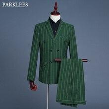 Ultime Verde Plaid Vestito di Vestito Degli Uomini Doppio Petto Mens 3  pezzo Set Giacca Sportiva 862af76dede