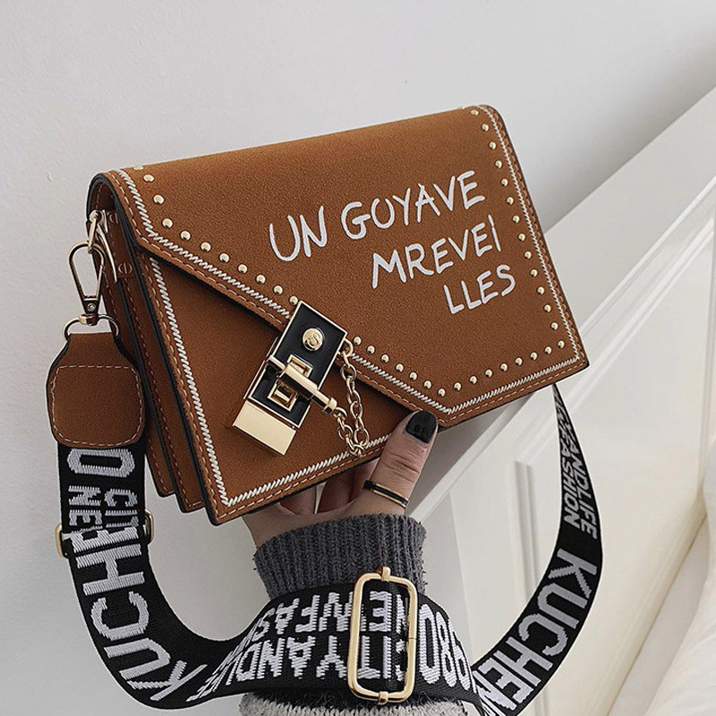 Women Shoulder Bags Crossbody Bag 2019 New Simple Mini Messenger Bags Lock Designer Fashion Scrub Women Handbags Cover Rivet Bag