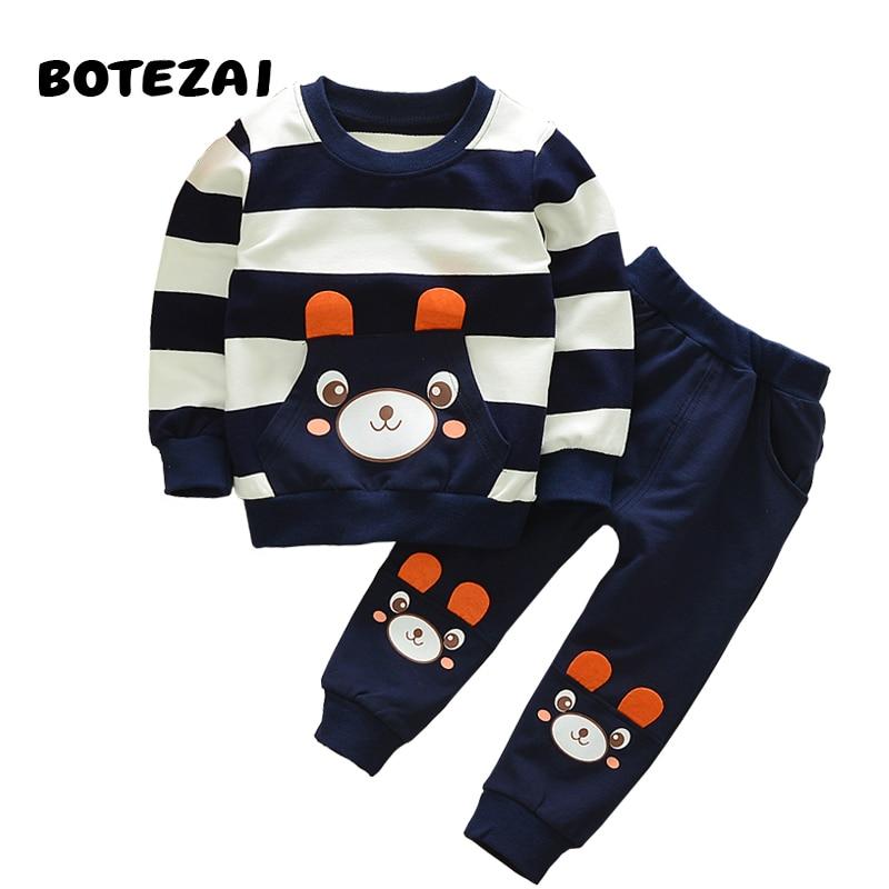 d86b5a231 ... bebé niño ropa primavera otoño Oso de dibujos animados de manga larga  Camiseta + Pantalones 2 pc trajes de Niños Niñas Ropa conjunto chándal de  deporte
