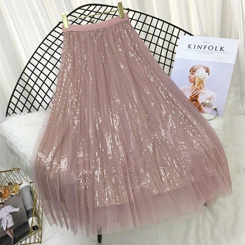 Весенне летние юбки женские корейские длинные тюлевые юбки с блестками плиссированные юбки средней длины шикарные юбки с высокой талией женские