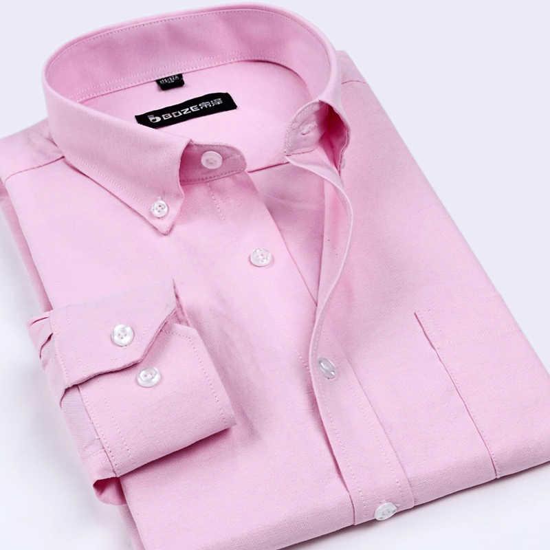 Новое поступление 2018 года, мужские брендовые рубашки в Оксфордском стиле, мужские рубашки, не железные, однотонный деловой, формальная рубашка, классический стиль, одежда для мужчин