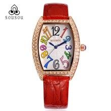 Marca de lujo Reloj de Cuero Rojo de Las Mujeres Rectángulo Señoras de La Manera relojes de Cuarzo-reloj Montre Femme mujeres bayan kol saati