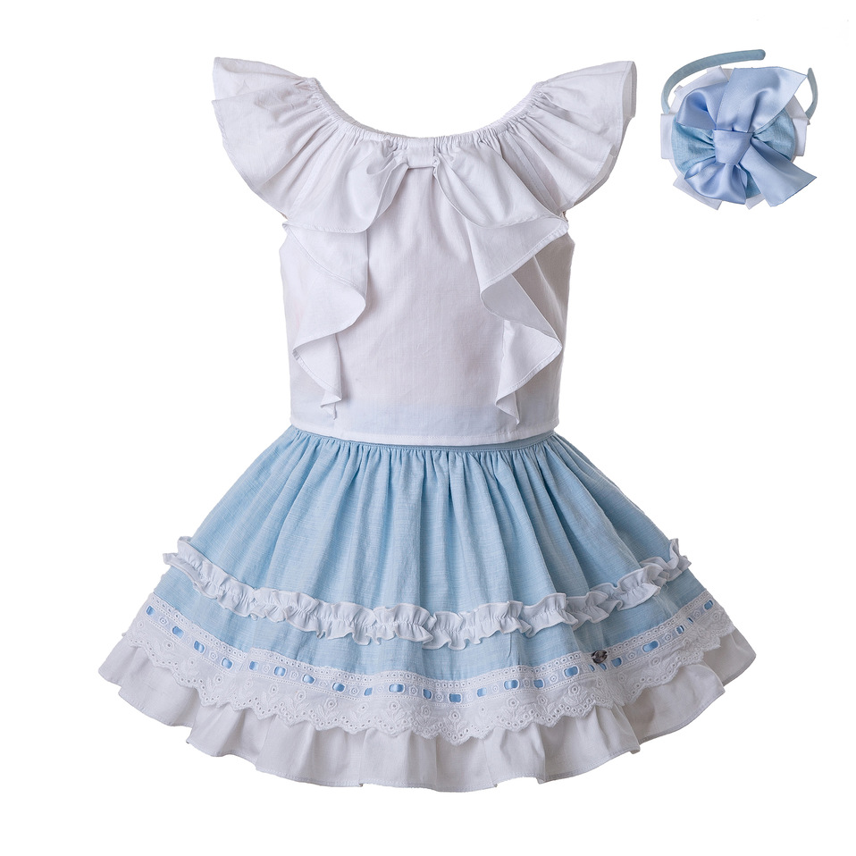 Pettigirl Newest Girls Clothing Set White Cotton Blouse And Sky Blue Skirt With Headwear Cute Kids