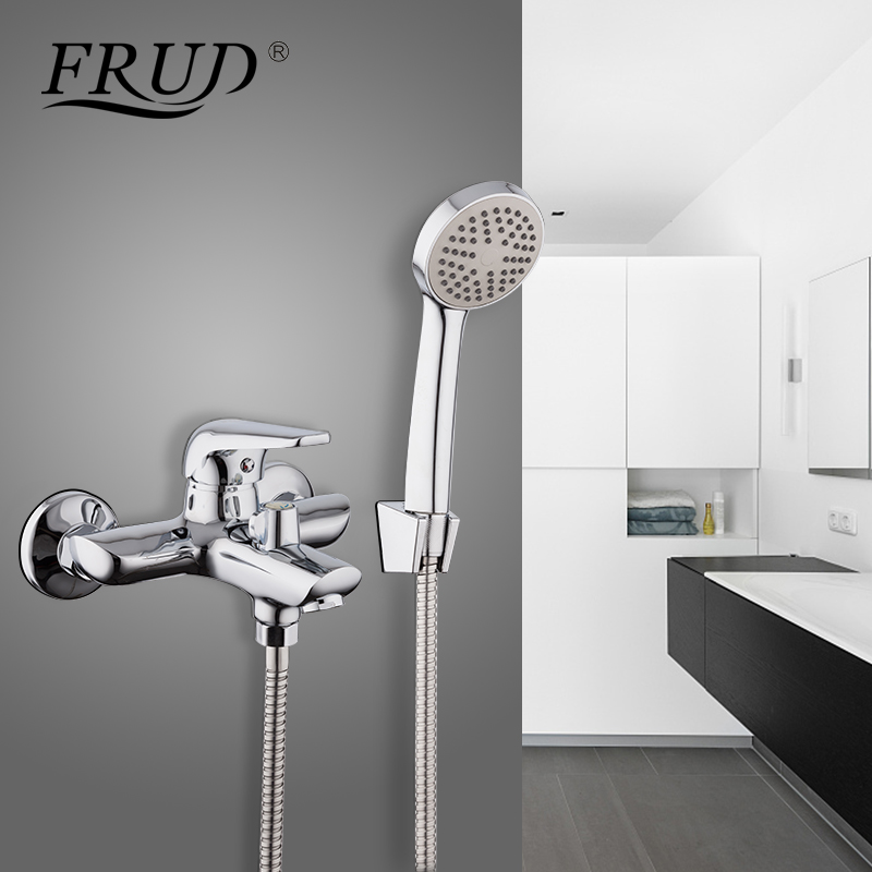Frud Bathroom Faucet Shower Bath Faucet Cold and Hot Water Mixer Single-handle Shower Modern Chrome Water Saving Shower R32102 sognare brass body bathroom shower faucet single handle cold and hot bath shower faucet set with hand shower chrome finish d5126