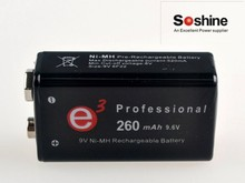 Soshine 260mah True 9.6v Rechargeable Battery 9V battery RTU NiMH Protected High Discharge Batteries Battery box 2 pcs/lot