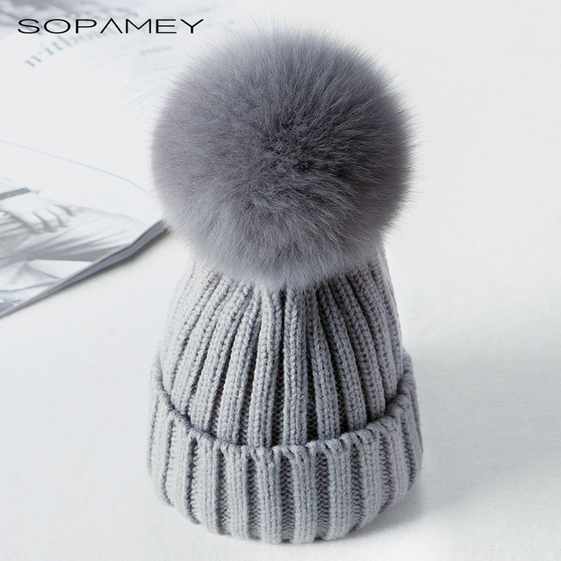 2017 New Fox Fur Ball Pom poms Winter Hat for Women Girls Knitted Wool Beanies Caps Thick Female Cap Casual Women's Fur Gorros 2017 winter fur hat female rex rabbit fur hat with fox fur pom poms fur knitted beanies fashion high quality caps for women hats