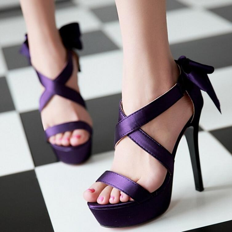 Wedding party heels 2017 summer new fashion women's silk bow open toe sandals woman shoes Purple Black