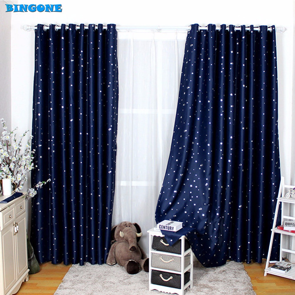Curtains for bedroom 2016 - 1pc 2016 Modern Little Stars Blackout Window