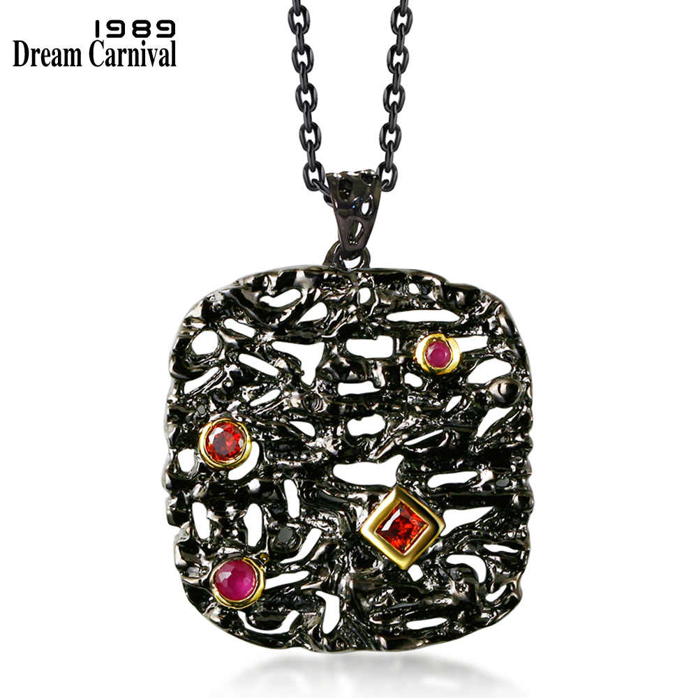 DreamCarnival1989 Neo-Gothic Long Necklace for Women Black Gold Color Big Pendant Red CZ Hollow Collana Costumes Collier WP6474